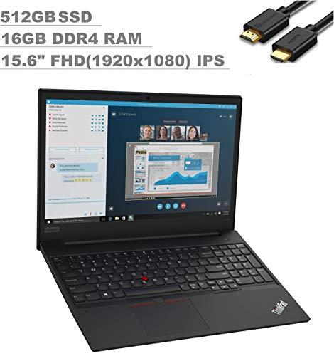 2020 Lenovo ThinkPad E595 15.6'' FHD Full HD (1920x1080) Business Laptop (AMD Quad-Core Ryzen 7 3700U, 16GB DDR4 RAM, 512GB SSD) Type-C, HD Webcam, RJ-45, Windows 10 Pro 64 + IST Computers HDMI Cable