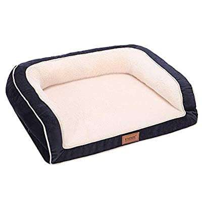 EMME Orthopedic Dog Beds 27/36/44/50 inches for Small, Medium and Large Dogs & Cats Removable Cover Dog Sofa Bed Ultra Plush Deluxe Dog Couch Pet Bed (Navy, XX-Large)