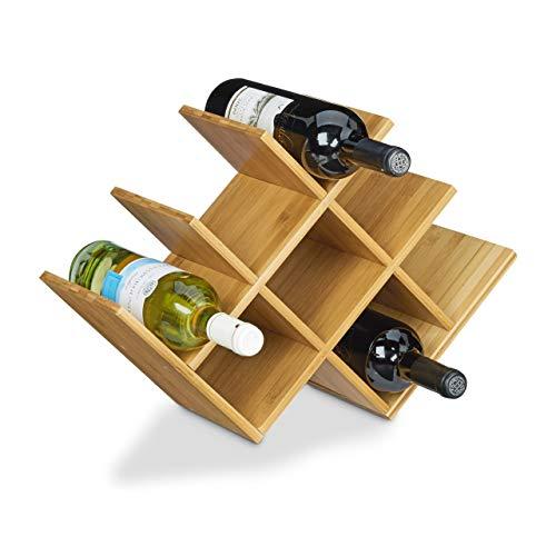 Relaxdays Weinregal aus hochwertigem Bambus H x B x T: 31,5 x 47 x 16,5 cm Flaschenhalter für bis zu 8 Flaschen Flaschenregal Holz Weinflaschenhalter, dekorativ