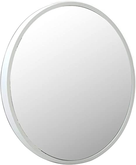 Amazon Com Wall Mounted Mirror Round White Wooden Frame 3mm Hd Mirror Bathroom Makeup Wall Mirror With Complete Kit Creative Modern Diameter 70cm 80cm Home Kitchen