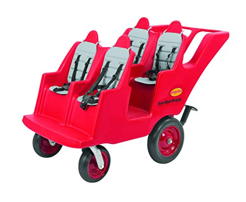 Children's Factory Angeles 4 Passenger Never Flat'Fat Tire' Bye-Bye Buggy, Red Daycare Multi-Passenger Buggy, 6 Seat Kids Commercial Stroller, Canopy Sold Separately