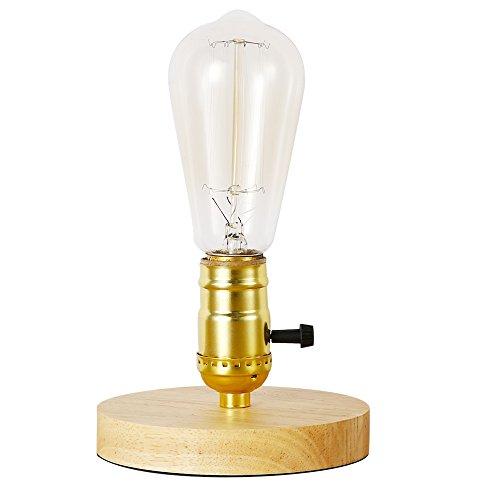 Insappig - Retro Vintage industriële verlichting - E27 Edison tafellamp met houten voet voor nachtkastjes, woonkamers, kantoren en decoraties, hout, E27 30.00W 220.00V