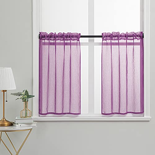 YOKISTG Sheer Kitchen Curtains 36 Inch Length Solid Rod Pocket Tier Curtains for Cafe Bathroom Basement Small Window, Purple, 2 Panels