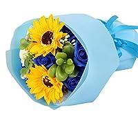 [Bestmood]造花 花束 母の日 ソープフラワー プレゼント 枯れない花 バラ ロース ブーケ 結婚式 バレンタイン 贈り物 ギフト 誕生日 お祝い(Freeブルー)