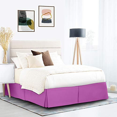 """Pleated Bed Skirt, Wrap Around Bed Skirt, Easy Fit 14"""" Bed Skirt, Double Brushed Premium Microfiber Ruffle Bed Skirt, Luxury Bedskirt, Hotel Quality Dust Ruffle, King Bed Skirt Radiant Orchid Purple"""