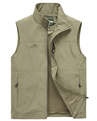 Hixiaohe Men's Causal Lightweight Outdoor Vest Fishing Travel Photo Safari Vest (Khaki, XXXL)