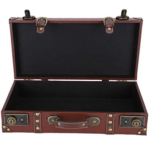 Maleta de mano retro, caja de almacenamiento de estilo antiguo, accesorios de fotografía duraderos de madera de gran capacidad para suministros de colección de almacenamiento de adornos