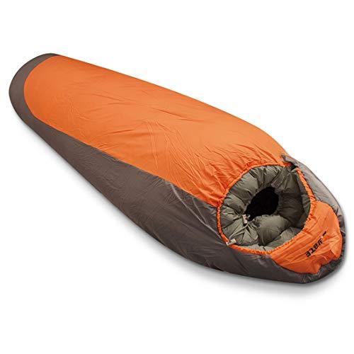 Yate Nepal XXL Mumienschlafsack 230cm Extrem Schlafsack Schlafsäcke Expeditionsschlafsack wasserabweisend Erwachsene für Winter max. -16°C orange grau (Reißverschluss Links)