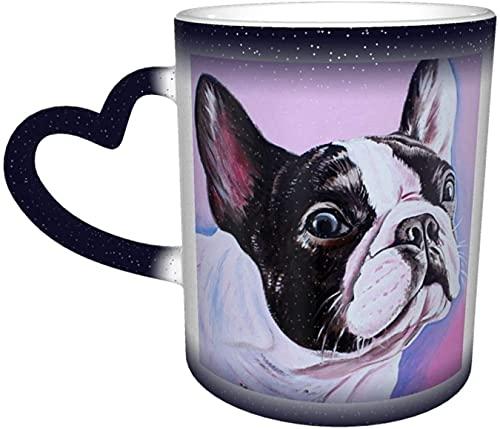 Taza de café Bulldog Frances Art Magia Taza sensible al calor que cambia de color en el cielo Tazas de café Regalos personalizados para amantes de la familia Amigos