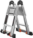 HBSC Escaleras Telescópicas De Aluminio Multiusos Plegables Plegables De La Escalera Extensible con Ruedas Y Pedales Antideslizantes Portátiles Caseros -Easy To Store 2.5+2.5=Straight 5.0M(16.4FT)