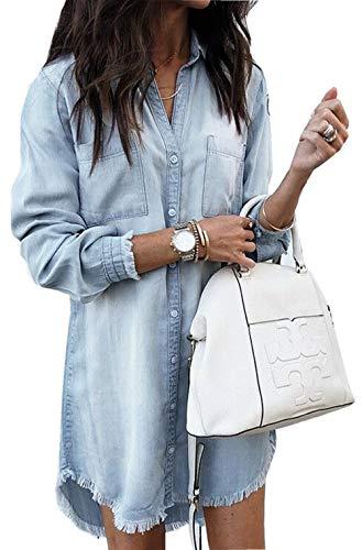 ZIYYOOHY Damen Langarm Beiläufig Denim Kleid Mini Blusenkleid Tunika Hemd Lang mit Knöpfen (XL, Blau)