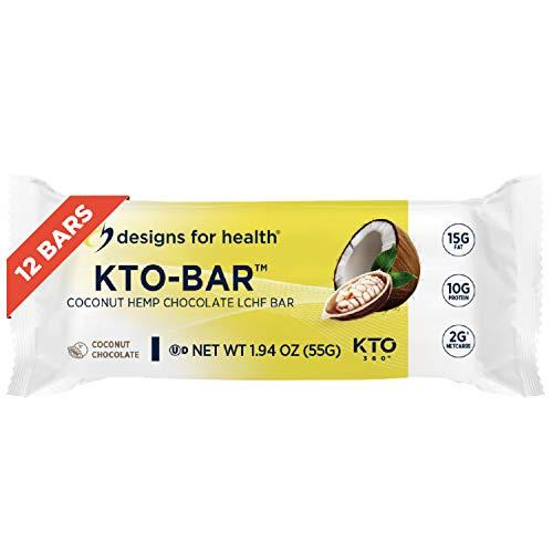 Designs for Health KTO-BAR Keto Protein Bars - High Fat, 2g Net...