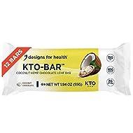 Designs for Health KTO-BAR Keto Protein Bars - 15g Fat, 2g Net Carbs, 10g Vegetarian Pumpkin Seed Protein - Non-GMO + Gluten-Free Snack, Coconut Chocolate (12-Pack)