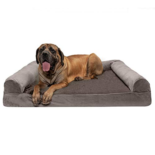 Furhaven Pet Dog Bed - Orthopedic Faux Fur and Velvet Traditional Sofa-Style Living Room Couch Pet Bed with Removable Cover for Dogs and Cats, Driftwood Brown, Jumbo Plus