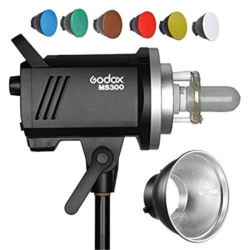 Godox MS300 Studio Strobe Flash 300Ws 220 V 2.4 G Wireless GN58 5600K Bowens Mount Monolight con lámpara de modelado de 150W, excelente potencia de salida, anti-Preflash, 0.1~1.8 S tiempo de reciclaje