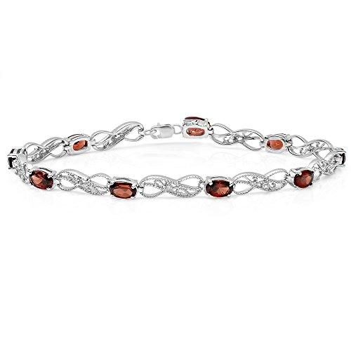 Dazzlingrock Collection Real Oval Cut Garnet & Round Cut White Diamond Ladies Infinity Link Tennis Bracelet, Sterling Silver