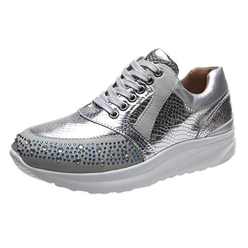Xmiral Sportschuhe Damen Strass Sneakers Schnürschuhe Shiny Snake Print Laufschuhe Outdoorschuhe (41,Silber)
