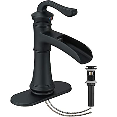Bathroom Faucet Black Matte Waterfall Single Hole Vanity Sink Basin Farmhouse With Pop Up Drain Stopper One Handle Mixer Tap Without Overflow Supply Line Lead-Free by Homevacious