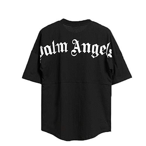 MTLZ T-Shirt da Uomo e da Donna, Estiva Palm Angel Maniche Corte Maglietta Crew Neck Graphic Tee (Nero, L)
