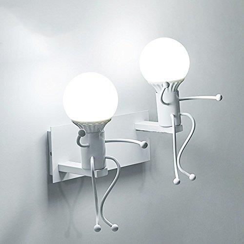 Iro forgé moderne créative Peinture Salon Chambre à coucher mur de chevet Lampe lumière, Art Villain Couloirs Chambre Enfants Wall Lamp,blanc,double tête 5 Watts lumière Blanc