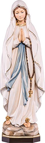 Ferrari & Arrighetti Imagen de Nuestra Señora de Lourdes en Talla de Madera Pintada a Mano Que Mide 10 cm - Demetz Deur