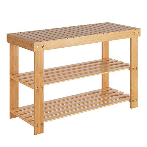 Homfa Schuhregal Bambus Schuhbank mit 3 Ablagen 70x28.5x45cm für Flur Bad Wohnzimmer bis 120KG belastbar