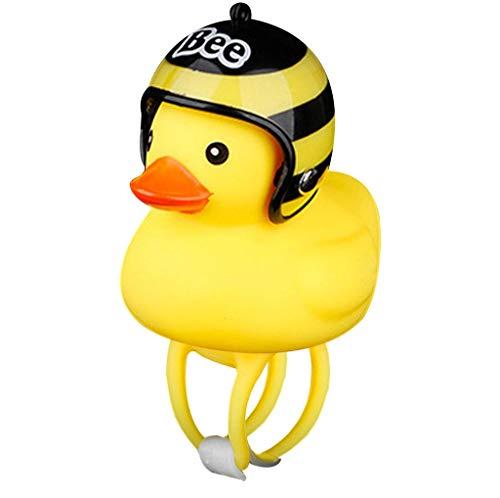 XUBF-ECH kinderfiets eend geel verlicht de fietslamp + helm accessoires voertuigen