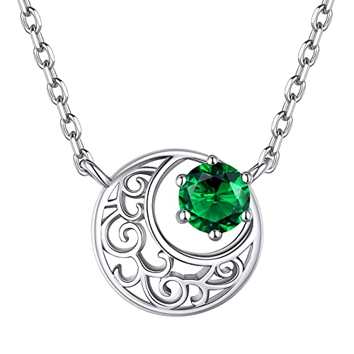 ChicSilver 925 Sterling Silver Moon Necklace for Women Round Cut Green Emerald Birthstone Celtic Knot Crescent Moon Pendant with 16 Inch Chain Necklace (May)