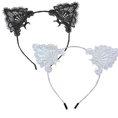 Agete Diadema de encaje con orejas de gato para mujeres y niñas,...