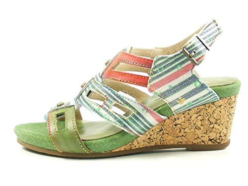 LAURA VITA SL140356-27 Benoit 27 Sandales Mode Femme, Pointure:41 EU, La Couleur:Vert
