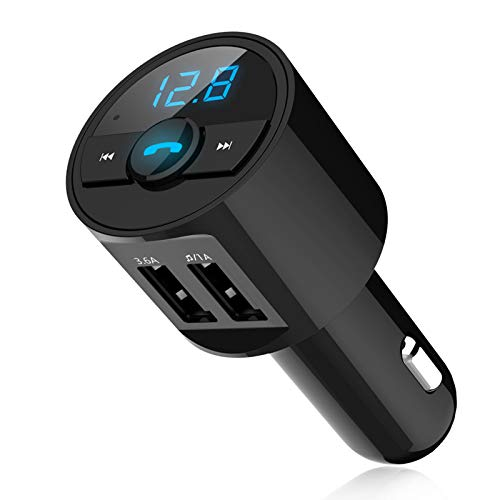 Bluetooth FM Transmitter, Wireless Auto Radio Adapter - Mikrofon - QC 3.0 Dual USB Ladegerät - Musik Player - Freisprechen - LED Backlit, Unterstützt USB Disk