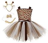 RAINDEWLL Deer Giraffe Tutu Dress for Girls Princess Little Deer Costume with Headband Christmas Party 7-8T Brown