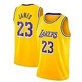 JINHAO Camiseta de Baloncesto Masculino NBA Lakers # 23 Lebron James Mesh Basketball Swingman Camiseta (Amarillo, Cuello Redondo, S)