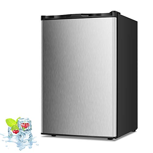 Kismile 3.0 Cu.ft Compact Upright Freezer with Reversible Single Door,Removable Shelves Mini Freezer with Adjustable Thermostat for Home/Kitchen/Office(3.0 Cu.ft, Stainless Steel)