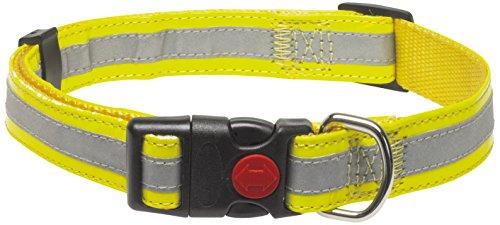 CHAPUIS SELLERIE SLA351 Collar Ajustable Reflectante de Perro - Correa de Piel sintética Amarilla - Ancho 25 mm - Largo 38-65 cm - Talla L