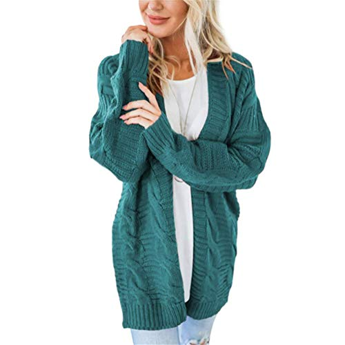 SMTM Herbst und Winter Damen Jacke Twist Cardigan Solid Color Mittellanger Thick Line...