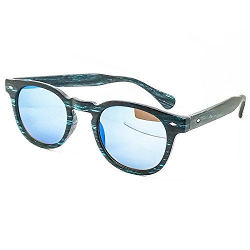 KISS Gafas de sol Line WOOD - estilo MOSCOT mod. DEPP Mirrored - VINTAGE Johnny Depp hombre mujer CULT unisex - BLUE WOOD/Azul