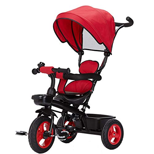 NUBAO Dreiräder Für Kinder ab 1 Kinderwagen Kinder Pedal Trike Bike Fahrradhöhe Einstellbar Pushgriff Kinder Dreirad Kohlenstoffstahl Material Baby Kinderwagen Kinderwagen (Farbe: rot) (Color : Rot)