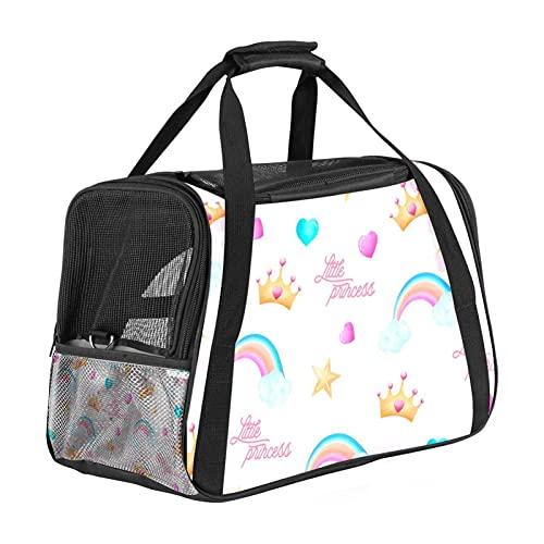 Bolsa de viaje para mascotas, bolsa portátil para mascotas, tela plegable, bolsa de viaje para perros o gatos, jaula para mascotas con cremalleras de seguridad de bloqueo, lindos elementos princesa