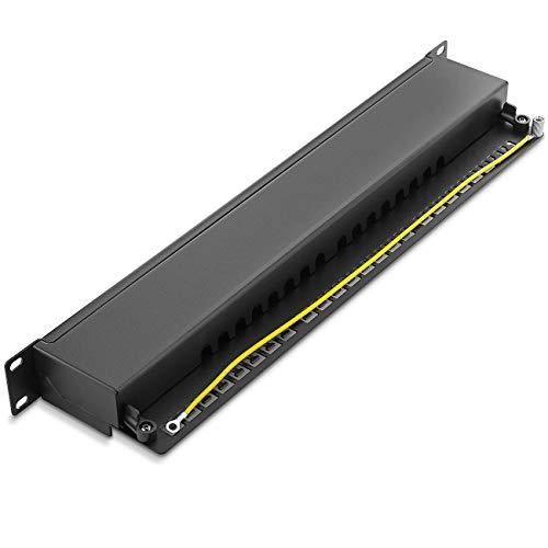 deleyCON CAT 6a Patchpanel Verteilerfeld 16 Port - Desktop 19 Zoll Rackeinbau Servermontage RJ45 Geschirmt - TIA568A TIA568B - Schwarz