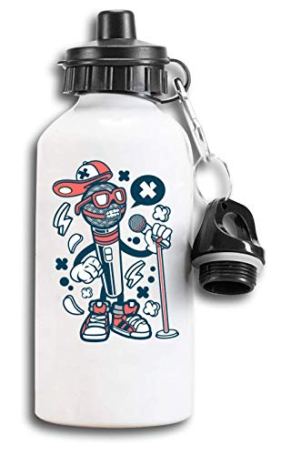 Iprints Cartoon Stijl Microfoon Rap Hip Hop Urban Tourist Waterfles