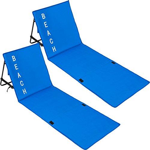 TecTake 800584 2er Set Gepolsterte Strandmatte mit Verstellbarer Rückenlehne und praktischem Tragegurt - Diverse Farben - (Blau | Nr. 402987)