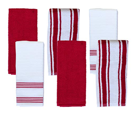 Weavely Kitchen Dish Towels - Set of 6 Cotton Terry Kitchen Towels - 100% Pure Cotton Fabric - Extra Absorbent and Super Soft Dish Towels for Kitchen - Multi-Purpose Cleaning Towels - Red - Classic