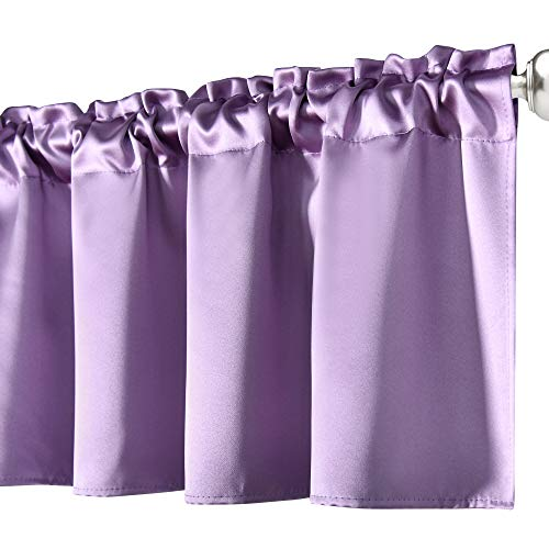 Faux Silk Blackout Lilac Purple Valance for Windows Curtain 18 Inches Long for Bedroom Living Room Basement Bathroom Kitchen Window Small Curtain Toppers Valance Rod Pocket 1 Panel 52 Inches Wide