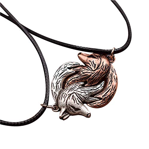 HAQUIL Wolf Necklaces for Couples - Metal Alloy, Interlocking Wolf Pendants - PU leather cord. 19.7' - Pack of 2