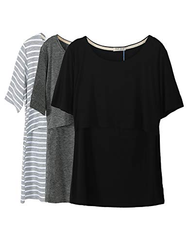 Smallshow 3 Pcs Maternity Nursing T-Shirt Nursing Tops Grey Stripe-Dim Grey-Black Medium