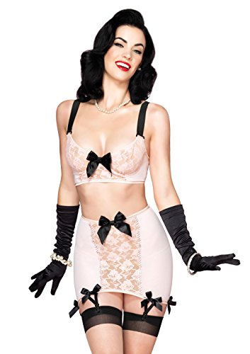 Leg Avenue Women's 3 Piece Blush Set Mesh Underwire Bra Girdle Skirt with Garters G-String, Peach, Small