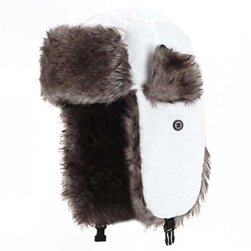 YESURPRISE Trapper Warm Russian Trooper Fur Earflap Winter Skiing Warm Hat Cap Women Men Unisex Windproof Army White