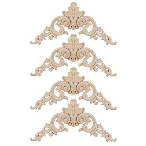 Garneck 4pcs Wood Carved Corner Onlay Applique Frame Unpainted Furniture Corner Applique Supplies Wall Cabinet Decorations (4pcs)