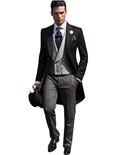 QZI Herren Swallow Frack Suit Smoking für Strandhochzeitsweste und Jackenhose